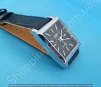 Часы Michael Kors 114158 женские серебристые прямоугольные на тонком черном ремешке без цифр