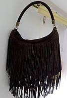 Замшевая женская сумка - мешок с бахромой. 100% натуральная кожа. Коричневая