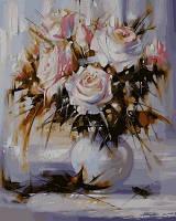 """VP 571 """"Белые розы"""" Роспись по номерам на холсте 40х50см"""