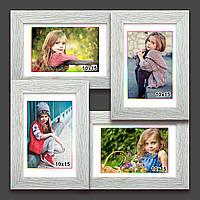 Мультирамка-коллаж на 4 фотографии 10х15 белая с эффектом браширования