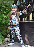 Красивый детский спортивный костюм с цветами  для девочки