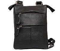 Небольшая кожаная сумочка с плечевым ремнём чёрная