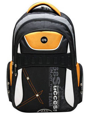"""Стильнячий мужской рюкзак для учебы и спорта 12+ CFS 17,5"""", Success CF85680 черный/оранжевый"""