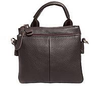 Мужская кожаная сумка на пояс коричневого цвета с ручкой