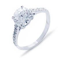 Кольцо серебряное с цирконами