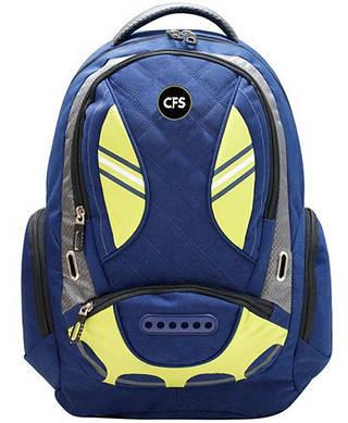 """Выразительный городской мужской рюкзак CFS 17,5"""", Flight CF85689 синий/салатовый"""