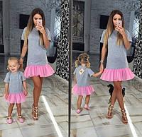 Стильный набор платьев мама и дочка пышная рюша низ