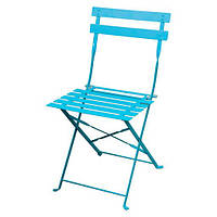 Стул садовый складной, металлический, цвет голубой