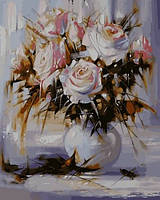 Картины по номерам 40×50 см. Белые розы
