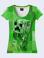 Женская футболка Creeper Minecraft с ярким геймерским принтом XS