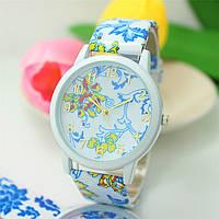 Женские часы силиконовые Geneva с сине-желтым цветочным принтом