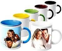 Чашка с вашим фото - цветная ручка и цветная внутри