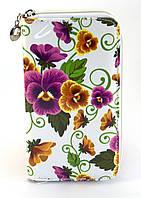 Белый горизонтальный женский кошелек-клатч с цветочным принтом на молнии Б/Н art. 01