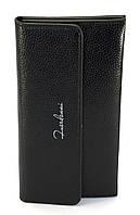 Черный вертикальный вместительный женский кошелек на кнопке FUERDANNI art. 005-3