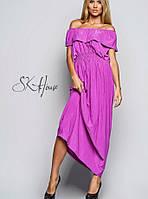 Платье в пол с воланами | Фиолетовое с декольте sk