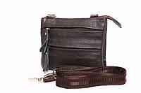 Мужская кожаная сумка на ремень с плечевым ремнем коричневая
