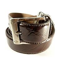 Ремень классический лаковая кожа мужской под брюки коричневый Bond 4073-442 Турция