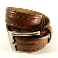 Ремень классический кожаный мужской под брюки коричневый Canpellini 540-1 Турция