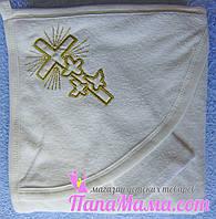 Полотенце с уголком для крещения ребенка, махра