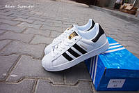 Кроссовки  Adidas Superstar White&Black Gold