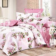 """Комплект постельного белья Евро двуспальный, сатин """"Цветущая веточка на розовом"""""""