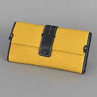 Желтый женский кошелек натуральная кожа змея