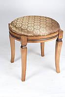 Банкетка круглая мягкая на деревянных ножках патина