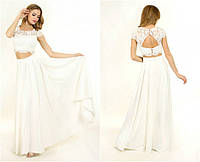 Свадебное платье-костюм из кружева и атласа G0841 (р.42-44)
