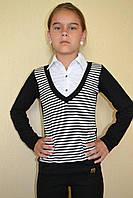 Блуза обманка полосатая на девочку школьная