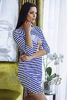 Платье в полоску с наклейкой Нефертити