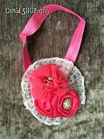 Повязка на голову детская с кружевом и бутоном роз Код товара HD006-4