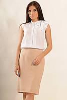 Женская летняя блуза из батиста белый (р.42-52)