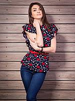 Шифоновая женская блуза с интересным принтом губки