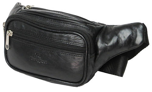 Качественная поясная сумка из кожи Paul Rossi 908-MTN Black