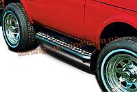 Боковые пороги труба с листом крашенные D60 на Lada Niva 2121-21214