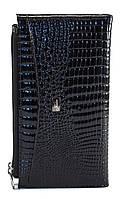 Красивый и удобный кожаный женский кошелек-кардхолдер лакированный черного цвета HELEN art. 2489-67 кожа змеи