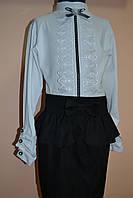 Блуза на девочку белая с бантом школьная