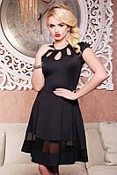 Нарядное черное женское платье Лилия 42-50 размеры
