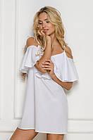 Летнее платье на бретелях белого цвета