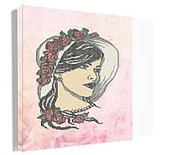 Девушка в шляпе. Картина для вышивки бисером. Основа (канва) на габардине. Вишиванка на подрамку