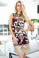 Неповторимое летнее женское платье прямого кроя с вышивкой и кружевной отделкой без рукавов трикотаж