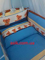 Постель «ASIK» мишки с горошком ( 8 эл.)  синего цвета №160