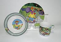 """Детский набор посуды из керамики """"Леопольд"""" 3 предмета"""