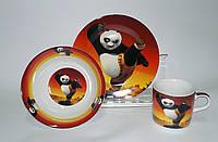 """Детский набор посуды из керамики """"Кунг-фу Панда"""" 3 предмета"""