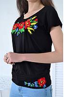 Женская футболка-вышиванка черная с цветами