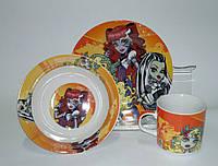 """Детский набор посуды из керамики """"Монстр Хай"""" 3 предмета"""