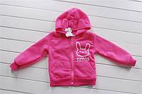 Детская розовая кофта кролик с ушками