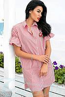 Асимметричное женское платье рубашка в полоску свободного фасона с рукавами фонариками коттон