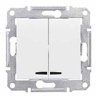 Выключатель двухклавишный с синей подсветкой, Schneider Electric, серия Sedna,  IP20, без рамки