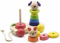 "Детская игрушка каталочка с пирамидками ""Котик+собачка"""